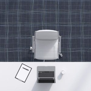 Plaid Sketch Pattern P459 in Navy on Carpet for Office or Hotel