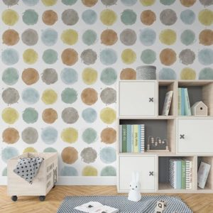 Painted Dots Pattern P576 in Aqua on Wallpaper for Kids Room