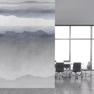 Watercolor Mountains Pattern P679 in Gray on Wallpaper in Office of Hotel