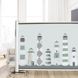 Lighthouses Pattern P1084 in Aqua on Privacy Screen for Healthcare