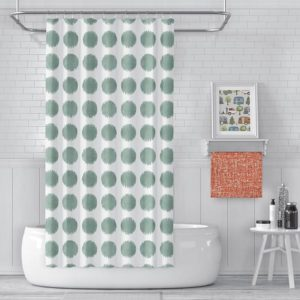 Watercolor Dot Pattern P1472 in Aqua on Shower Curtain for Home of Hotel