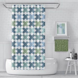 Ikat X Pattern P1473 in Blue on Shower Curtain for Home or Hotel