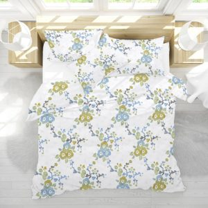Blossom Pattern P1538 in Aqua on Bedding for Home or Hotel