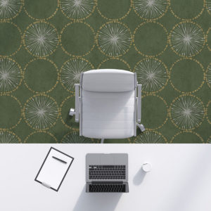 Circle Starbursts Pattern P273 in Green on Carpet