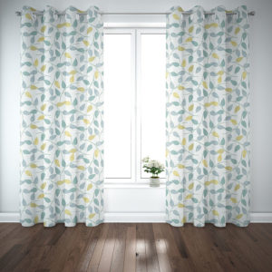 Geometric Vines Pattern P333 in Aqua on Curtains for Home or Hotel