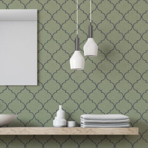 Quatrefoil Lattice Pattern P606 in Green on Wallpaper for Home or Hotel