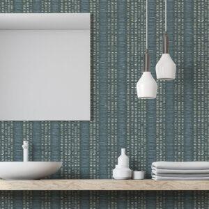 Ethnic Stripe Pattern P268 in Aqua as Wallpaper