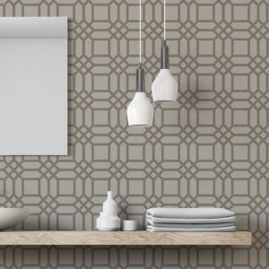 Lattice Square Pattern P599 in Taupe on Wallpaper for Home or Hotel