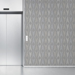 Diamond Triangle Stripe Pattern P380 in Gray on Wallpaper for Home or Hotel