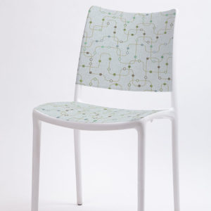 Underground Pattern P370 in Aqua on a Stackable Office Chair