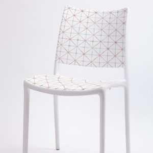 Diagonal Lattice Pattern P52 in Pink on Chair