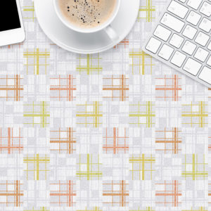 Plaid Check Pattern P454 in Pink on Table Top of Office or Restaurant