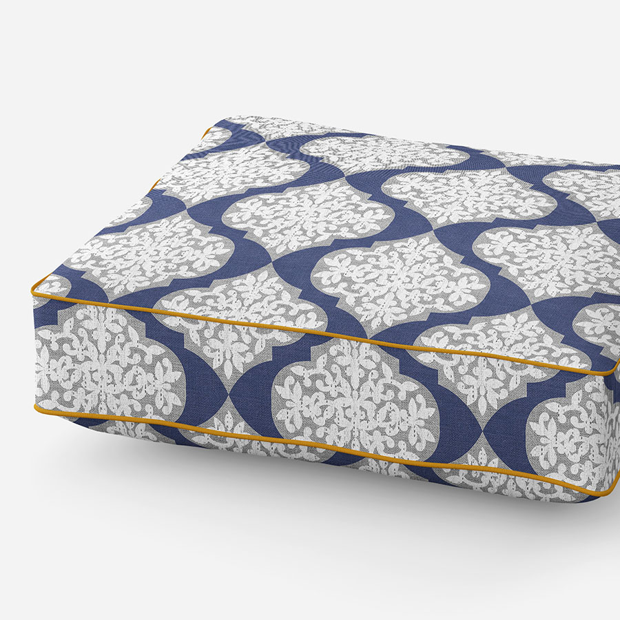 Lace Ogee Pattern P374 in Blue on Cushion for Sofa or Chair