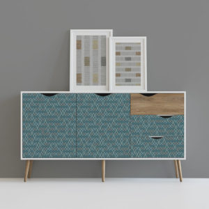 Cross Stitch Pattern P481 in Aqua on Dresser for Home or Hotel