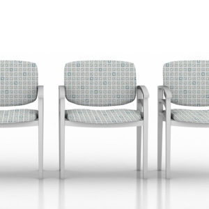 City Grid Pattern P325 in Aqua on Chairs for Healthcare Reception Seating
