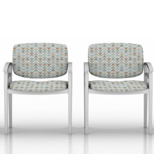 Triangle Plaid Pattern P475 in Aqua on Reception Seating for Healthcare