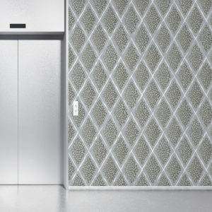 Coral Reef Diamond Pattern P385 in Gray on Wallpaper for Hotel or Home
