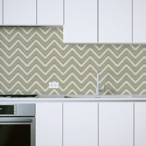 Neon Chevron Pattern P210 in Yellow on Backsplash