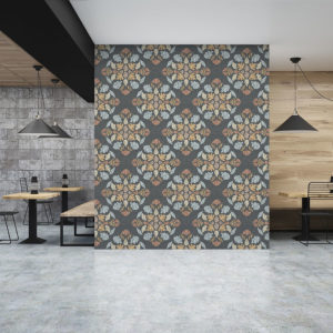 Leaf Diamond Pattern P379 in Blue on Wallpaper for Restaurant or Hotel