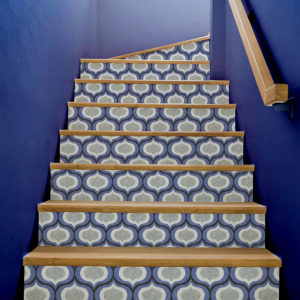Ikat Ogee Pattern P468 in Blue on Wallpapered Stairs for Home or Hotel
