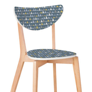 Mini Mountains Pattern P485 in Blue Printed on Chair for Office or Education