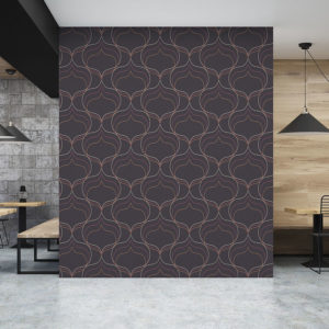 Tri-Linear Ogge Pattern P375 in Purple as Wallpaper for a Restaurant
