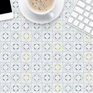 Dot Dash Tile Pattern P455 in Aqua Printed on a Table Top