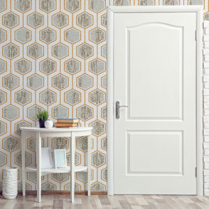 Neocon Hexagon Pattens P483 in Orange as Wallpaper of Home or Hotel