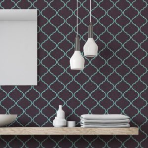 Neon Quatrefoil Tile Pattern P695 in Aqua as Wallpaper for Hotel or Restaurant