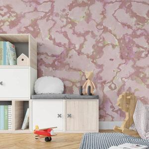 Italian Marble Pattern P527 in Pink as Wallpaper in Kids Room