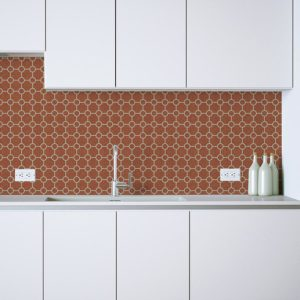 Circle Trellis Pattern P596 in Orange as a Backsplash