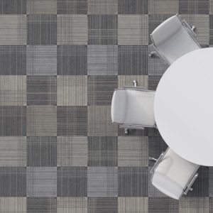 Abernathy Plaid Pattern P680 in Gray on Carpet for Office or Hotel