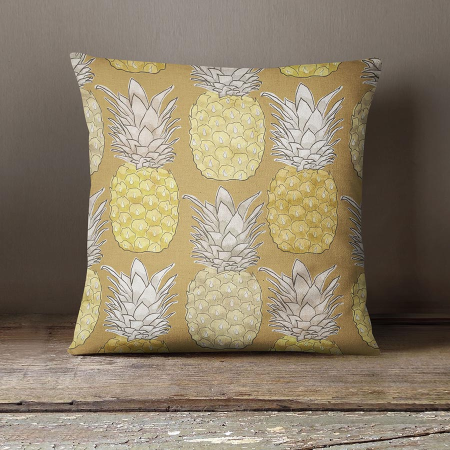 Pineapple Surprise Pattern P1321 in Yellow on Pillow for Home or Hotel