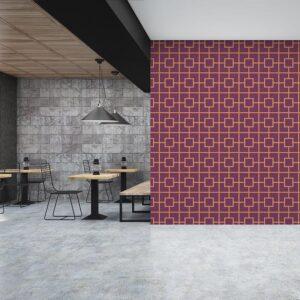 Square Garden Trellis Pattern P597 in Purple as Wallpaper for Hotel or Restaurant