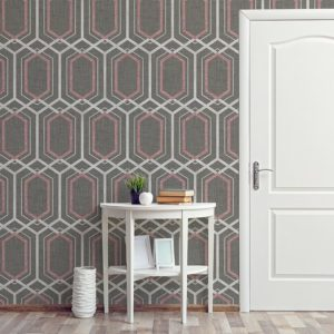 Hexagon Lattice Pattern P533 in Pink on Wallpaper for Home or Hotel