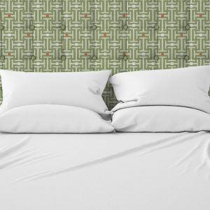 Athens Pattern P563 in Green Upholstered on Headboard