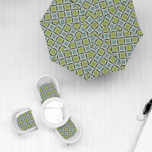Circle Patchwork Pattern P562 in Green on Outdoor Performance Fabric