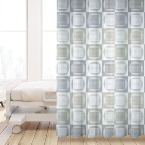 Watercolor Checkerboard Pattern P676 in Gray on Privacy Curtain for Healthcare