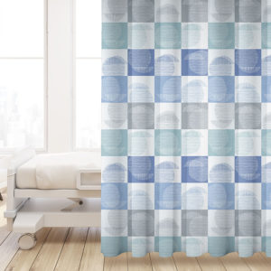 Block Print Square Pattern P677 in Blue on Privacy Curtain for Healthcare