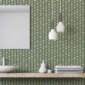 Turtle Shell Pattern P587 in Green on Wallpaper for Home or Hotel