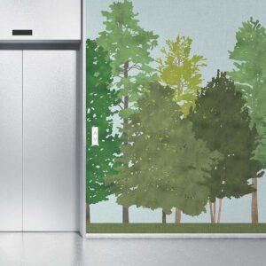 Walk in the Woods Pattern P1604 in Green in Wallpaper