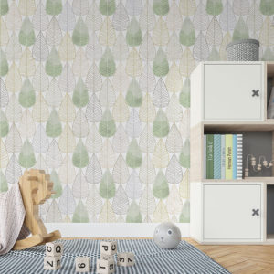 Feather Leaf Pattern P579 in Green on Wallpaper
