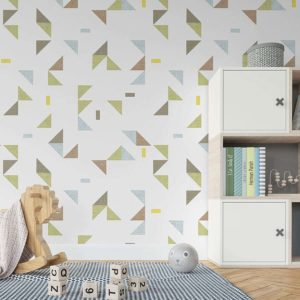 Floating Triangles Pattern P688 in Green Wallpaper
