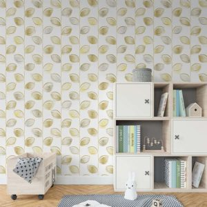 Watercolor Leaf Vines Pattern P634 In Yellow on Wallpaper for Kids or Pediatrics