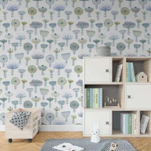 Watercolor Sketch Floral Pattern P637 in Blue on Wallpaper for Kids or Pediatrics