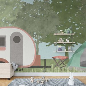 Camping Pattern P1601 in Red Wallpaper