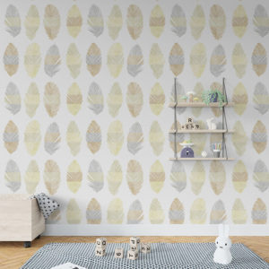 Tail Feather Pattern P585 in Yellow on Wallpaper for Kids Room