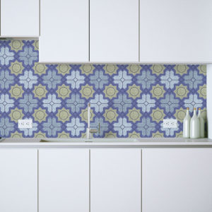 Ceramic Mosaic Pattern P670 in Blue as a Backsplash for Home or Hotel or Office Kitchen