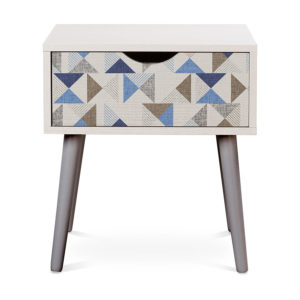 Regatta Pattern P618 in Blue on Nightstand for Home or Hotel