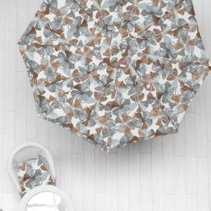 Whimsy Floral Pattern P631 in Brown on Umbrella and Cushion for Home or Hotel